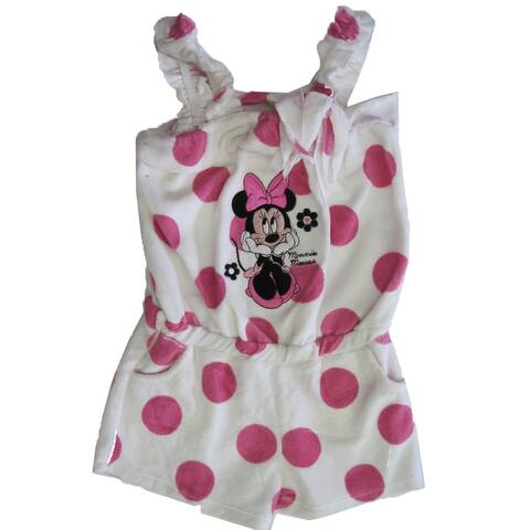 Disney Little Girls Pink White Dot Minnie Mouse Towel Throw On Romper 2T-6X