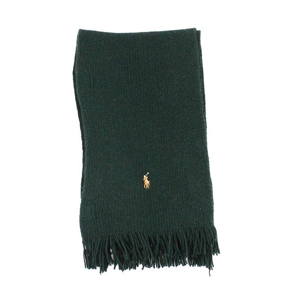 976e07034d65f ... low cost polo ralph lauren green one size solid fringe wool knit scarf  afa14 3037b