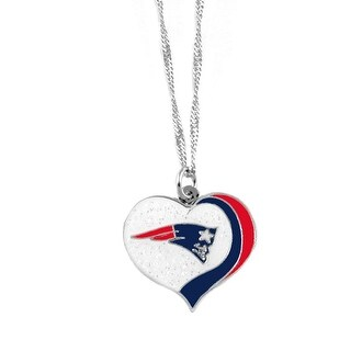 New England Patriots NFL Glitter Heart Necklace Charm Gift