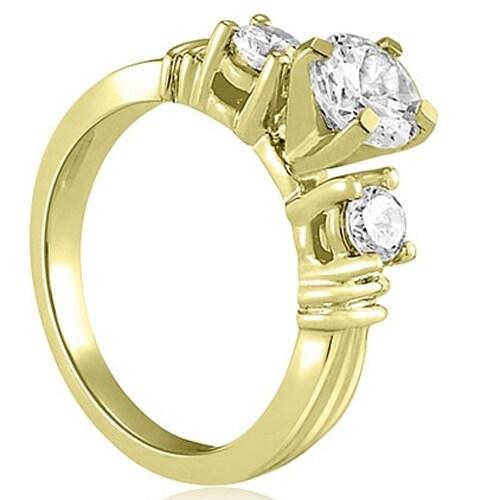 1.25 cttw. 14K Yellow Gold Vintage Three-Stone Round Cut Diamond Engagement Ring