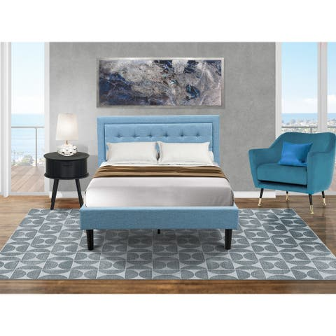 Platform Full Size Bed Set with Bed Frame and a Night Stand for Bedrooms - Denim Blue Linen Fabric
