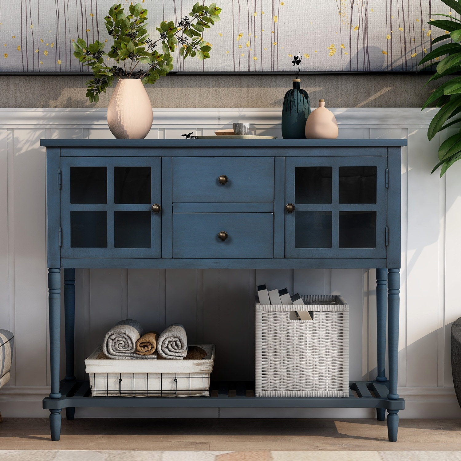 1 Cabinet and 1 Shelf for Living Room P PURLOVE Console Table Buffet Table Wood Buffet Storage Cabinet 4 Drawers