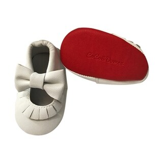 Baby Girls White Red Soft Sole Mary Jane Bow Faux Leather Crib Shoes 3-18M
