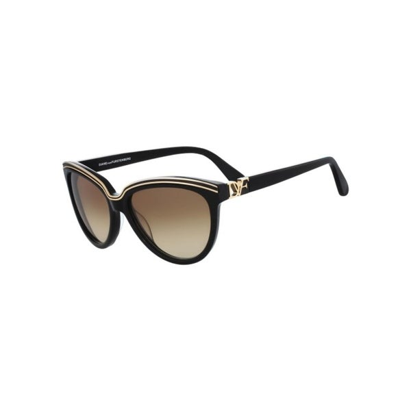 4e6281b482683 Shop Diane Von Furstenberg Womens Mila Cat Eye Sunglasses Gold Contrast  Fashion - Black - o s - Free Shipping Today - Overstock - 15869065