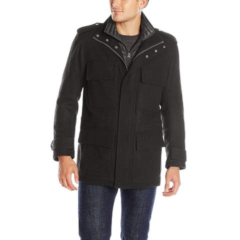 Marc York Mens Coat Deep Black Size XL Layered-Zip Quilt Lined