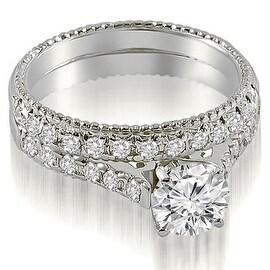 1.30 cttw. 14K White Gold Vintage Cathedral Round Cut Diamond Bridal Set