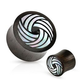Tribal Circle Mother of Pearl Inlay Organic Black Wood Saddle Fit Plug (Sold Individually)