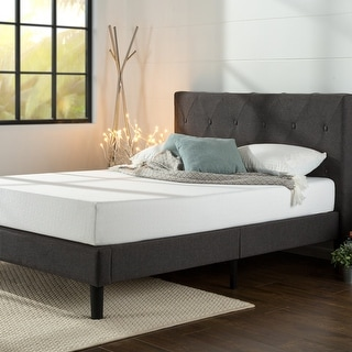 Link to Priage by ZINUS Dark Grey Upholstered Diamond Stitched Platform Bed Frame Similar Items in Bedroom Furniture