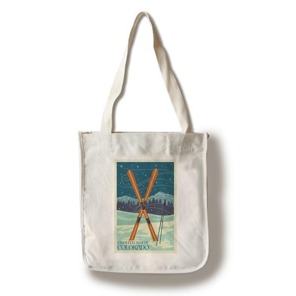 b513cb9ecd Crested Butte CO Crossed Skis Letterpress - LP Art (100% Canvas Tote Bag  Gusset