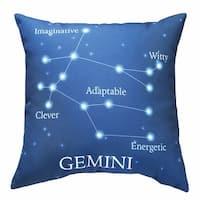 Horoscope Navy Blue Decorative Throw Pillow - Gemini
