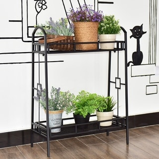 Costway Heavy Duty 2 Tier Metal Flower Pot Rack Plant Display Stand Shelf Holder Decor