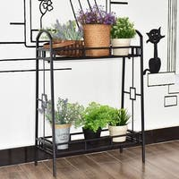 Costway Heavy Duty 2 Tier Metal Flower Pot Rack Plant Display Stand Shelf Holder Decor - Black
