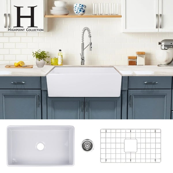Highpoint Collection 30-inch Fireclay Farmsink with Grid and Drain - 30.25 x 18 x 10 inches - 30.25 x 18 x 10 inches. Opens flyout.