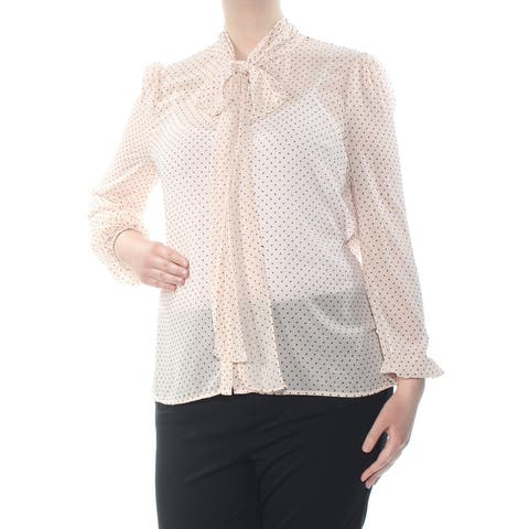 RACHEL ZOE Womens Pink Polka Dot Long Sleeve Tie Neck Blouse Wear To Work Top Size: L