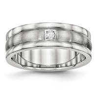 Stainless Steel Polished and Brushed Grooved CZ Ring (7 mm) - Sizes 7 - 13