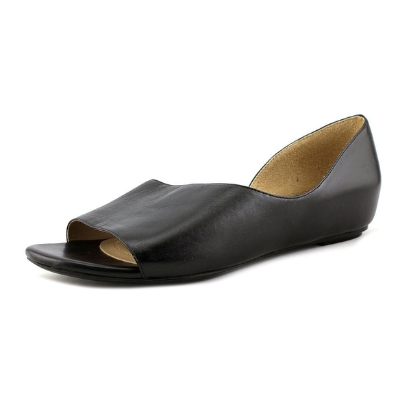 Naturalizer Lucie Women Open Toe Leather Black Wedge Sandal