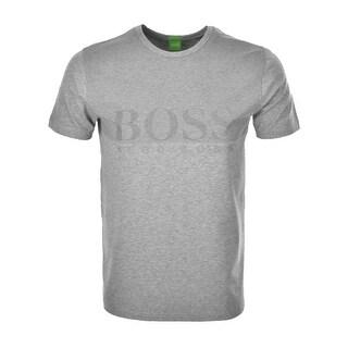 Hugo Boss Green Men's Label Tee 8 Premium Jersey T-Shirt Grey Regular Fit