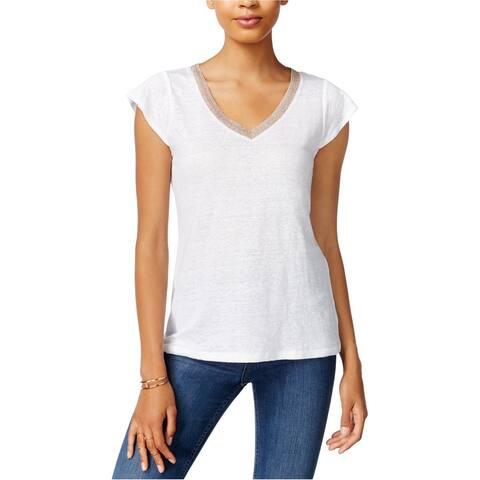 maison Jules Womens Linen Basic T-Shirt, White, XX-Large