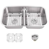 "Miseno MSS3218CLD 32-1/2"" Undermount Double Basin Stainless Steel Kitchen Sink with 50/50 Low-Divide Split - Drain Assemblies"
