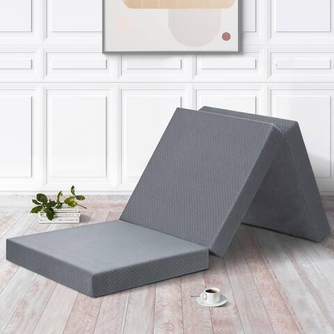 Sleeplanner 4-inch Grey Tri-fold Memory Foam Topper, Single size (25 W x 75 L x 4 H)