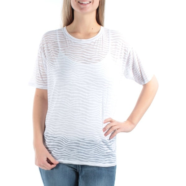 908573e57df414 Shop Womens White Animal Print Short Sleeve Crew Neck T-Shirt Top Size L -  Free Shipping On Orders Over $45 - Overstock - 21706772