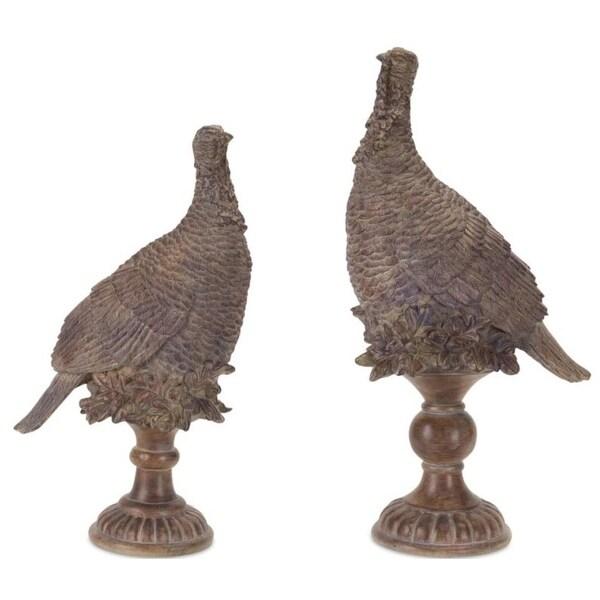 Pack of 1 Decorative Porcelain look Brown Pheasant on Pedestal