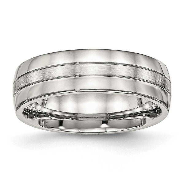 Stainless Steel Brushed and Polished Grooved 6.5 mm Band Ring - Sizes 7 - 13