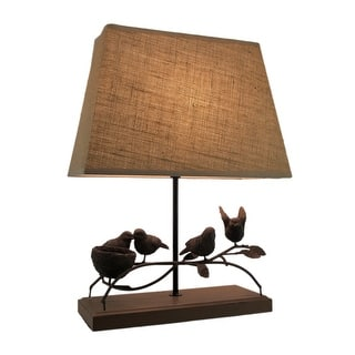 Bird lamp table lamps for less overstock rustic brown birds nest table lamp with burlap shade mozeypictures Images