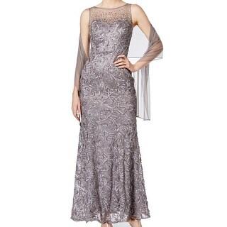 SL Fashions NEW Gray Womens Size 14 Embellished Illusion Maxi Dress Set