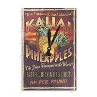 Kauai, HI - Pineapple Vintage Sign - LP Artwork (Acrylic Wall Clock) - acrylic wall clock
