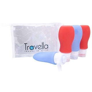 Silicone Anti-Leak Lid Travel Containers, Set of 4 TSA Approved Bottles for Toiletries, With Clear Cosmetics Bag, Red & Blue