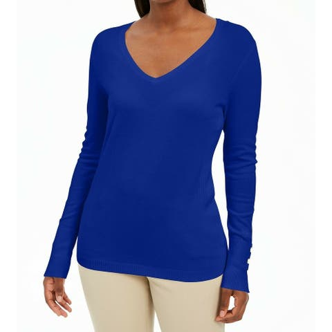 JM Collection Womens Sweater Blue Size XS Pullover V-Neck Rib-Trim