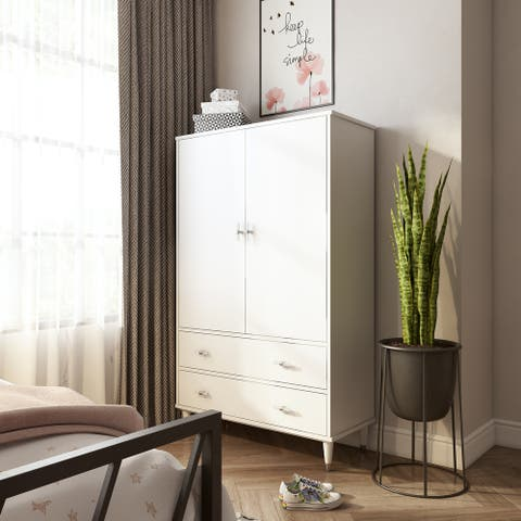 White Finish Glam 2-door Armoire
