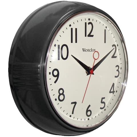 Westclox 32042bk 9.5 1950's retro black case convex glass clock
