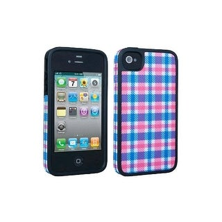 Speck Fitted Hard Case with Fabric for Apple iPhone 4 / 4S - Plaid Pink/Blue
