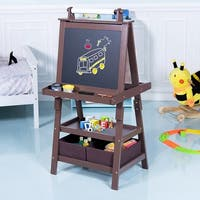 Gymax Kids Standing Art Easel Black/Whiteboard Storage Box Painting Easel Paper Roll