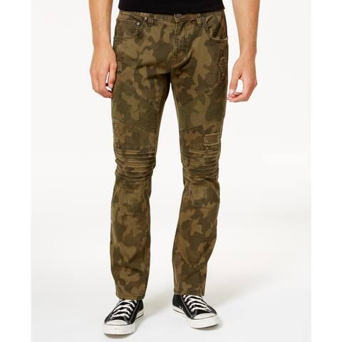 INC International Concepts Men's Moto Slim Fit Jeans Green Size 36