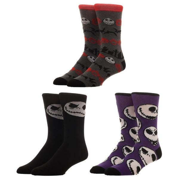 The Nightmare Before Christmas 3-Pack Crew Socks Set, 10-13
