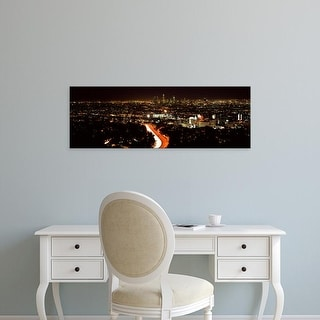 Easy Art Prints Panoramic Image 'City lit up at night, Hollywood, Los Angeles, Los Angeles, California' Canvas Art