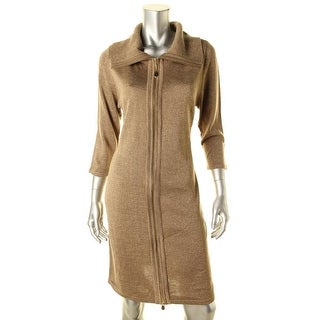 Calvin Klein Womens Metallic Fitted Sweaterdress