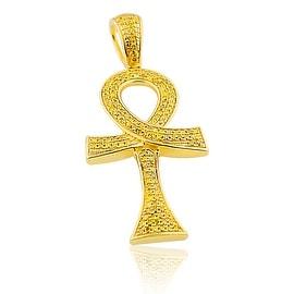 Yellow Diamond ANKH Pendant Charm Mens 10K Yellow Gold 0.42ctw