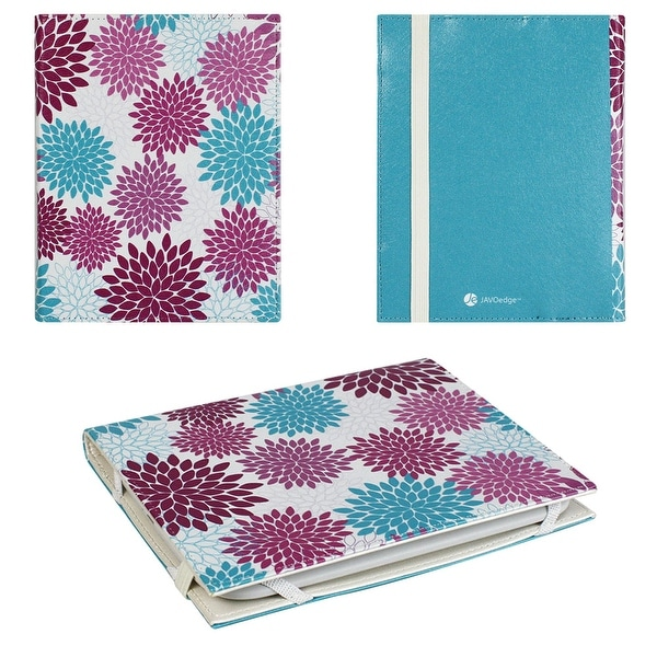 JAVOedge Turquoise Vintage Floral Ultra Thin Book Style Case for Barnes & Noble 2nd Generation Nook Glowlight