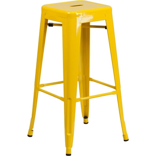 Collins 30'' High Backless Yellow Metal Indoor/Outdoor/Patio/Bar Barstool w/Square Seat