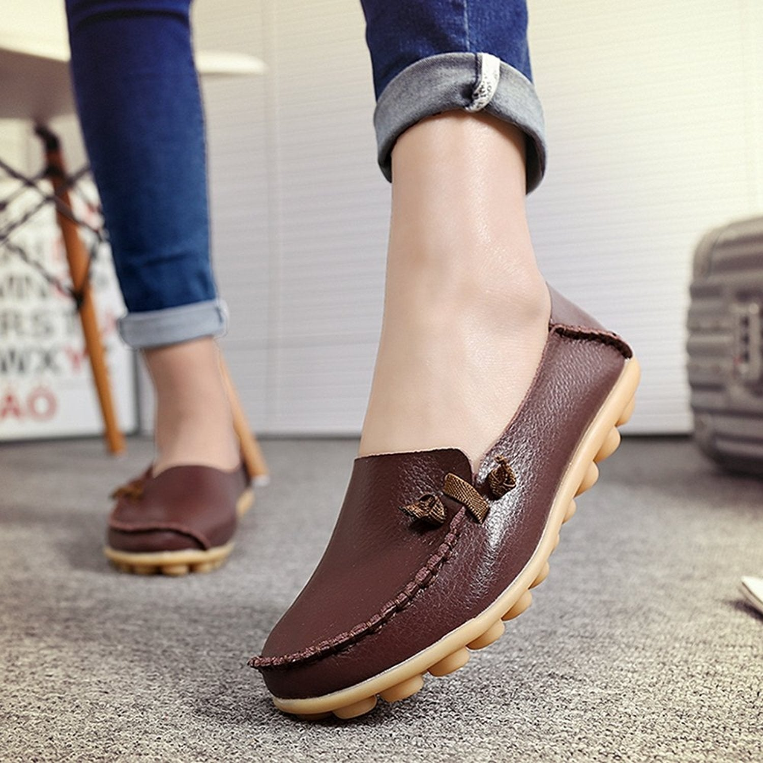 a1b12faa05009 Women LabatoStyle Women's Casual Leather Loafers Driving Moccasins Flats  Shoes Camping & Hiking