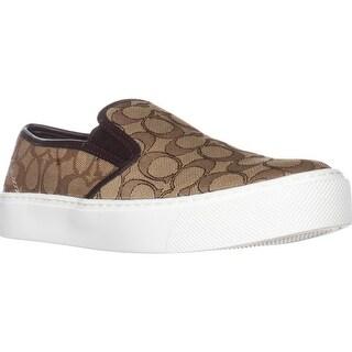 Coach Cameron Logo Fashion Sneakers, Khaki Chestnut