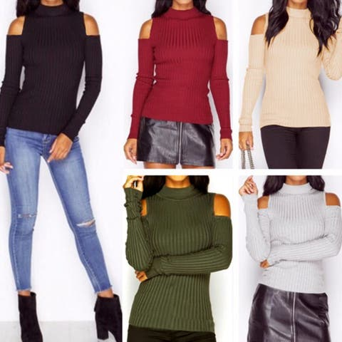 Turtle Neck Cold Shoulder Knit Sweater