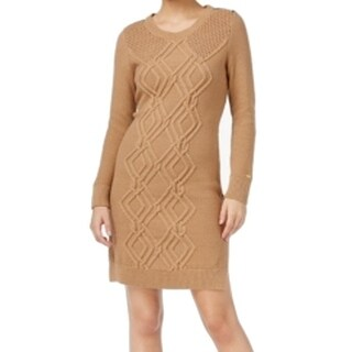 Tommy Hilfiger NEW Brown Women's Size Small S Textured Sweater Dress