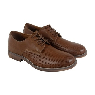 Calvin Klein Onyx Mens Tan Leather Casual Dress Lace Up Oxfords Shoes