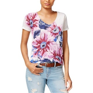 Link to Lucky Brand Womens Floral Graphic T-Shirt, pink, Large Similar Items in Tops