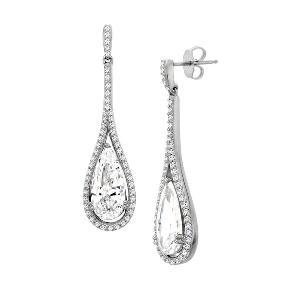 Teardrop Earrings with Swarovski Zirconia in Sterling Silver - White